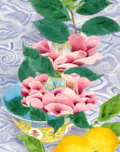 gabby malpas,watercolour on paper,watercolour and pencil,pencil,pink,blue,chinoiserie,oriental,original,painting,camelias, turquoise,camelia, lemon,turquoise,still life