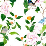 Camelias and birds.   Pattern