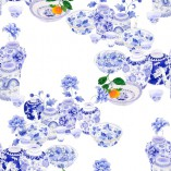 Blue and white.  Pattern repeat