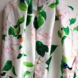 Camelias and birds.   Silk scarf by Gabby Malpas