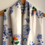 Blue and white.   Silk scarf by Gabby Malpas