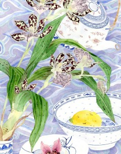 Orchids and ceramic original painting by Gabby Malpas
