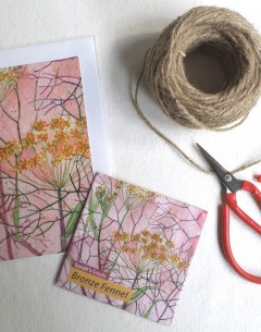 Gabby Malpas Art card and organic seed packet bronze fennel