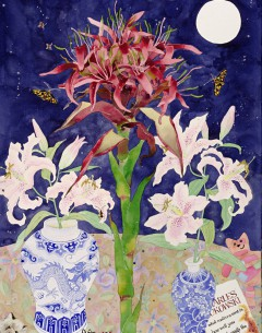 Gymea lily watercolour, collage and pencil on paper by Gabby Malpas