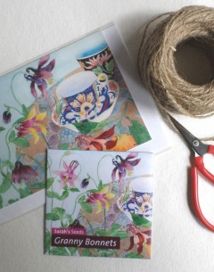 Gabby Malpas Art card and organic seed packet granny bonnets