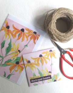 Gabby Malpas Art card and organic seed packet black eyed susans