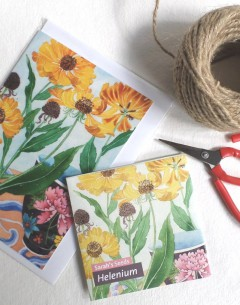 Gabby Malpas Art card and organic seed packet Helenium