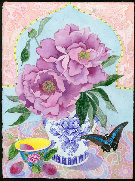 Sarahs garden 16 with koi commissioned work on paper by Gabby Malpas