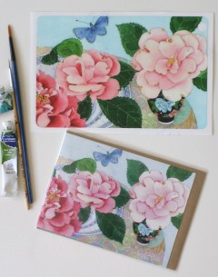iPad Mini cover sticker and matching card Camelias