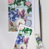 iPhone4 cover sticker and matching card camelias and magnolias