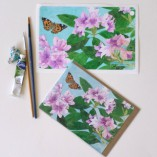 iPad Mini cover sticker and matching card Mauve Rhododendrons