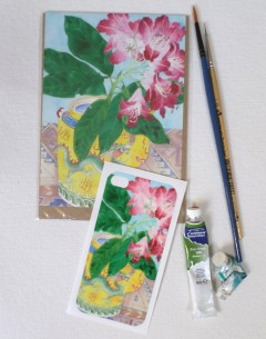 iPhone4 cover sticker and matching card rhododendron and teapot