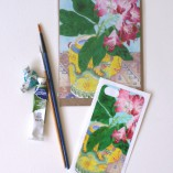 iPhone5 cover sticker and matching card Rhododendron and yellow teapot
