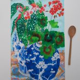 begonia teatowel in 100% cotton oxford limited edition