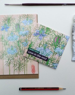 Seed packet by Gabby Malpas for Sarahs seeds love in the mist