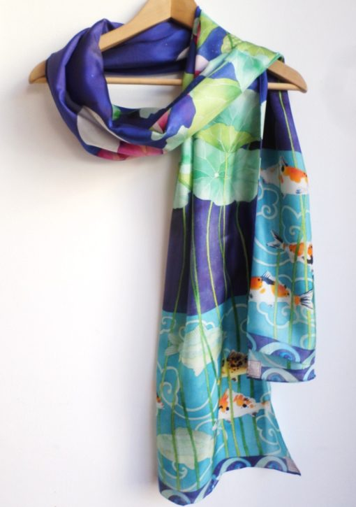 Pure silk scarf lotus and koi design