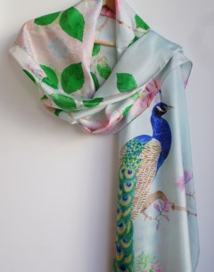 Pure silk scarf peacock design