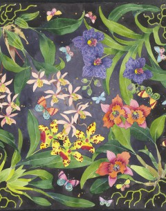 Orchids and butterflies Archival limited edition print by Gabby Malpas