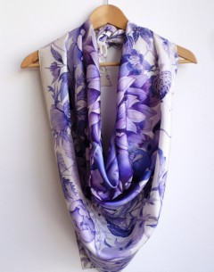 Blue and white floral pure silk scarf square size with handrolled edges limited edition