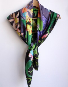 orchids and butterflies pure silk scarf square size with handrolled edges