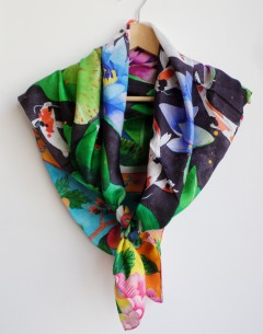 9 koi of longevity pure silk scarf square size with handrolled edges