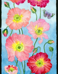 Poppies watercolour, gouache and pencil on Arches paper Original painting by Gabby Malpas