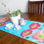 Gabby Malpas double sided table runner lotus and bromeliads design.  100% cotton poplin