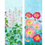 Gabby Malpas double sided table runner in 100% cotton poplin. salvia and poppies base design