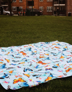 Pacmat picnic rug in family size with gabby Malpas butterfly pattern