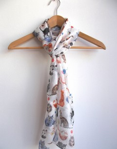 hand rolled long silk chiffon scarf by Gabby Malpas in her catisfaction pattern repeat