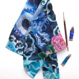 hand rolled silk chiffon scarf by Gabby Malpas Chasing the dragon