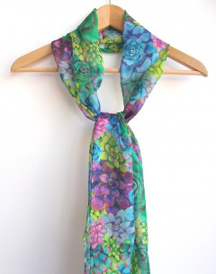 hand rolled long silk chiffon scarf by Gabby Malpas in her Succulove pattern repeat