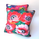 poppy and anemone cushion cover