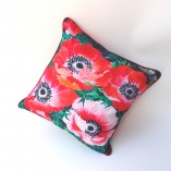 Double sided cushion cover in 100% cotton oxford with poppy and anemone design in red on dark backgrounds