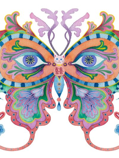 Limited edition print on archival paper: Rainbows and butterflies: fish head
