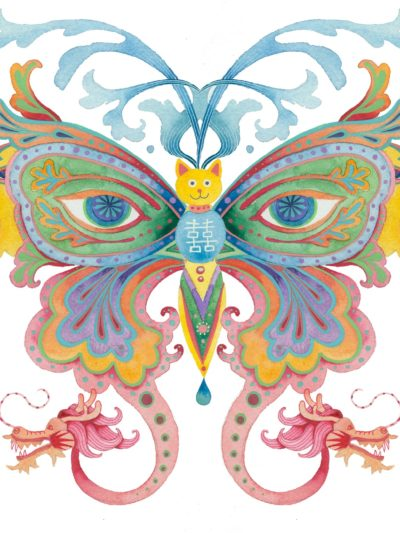 Limited edition print on archival paper: Rainbows and butterflies: wolf butterfly