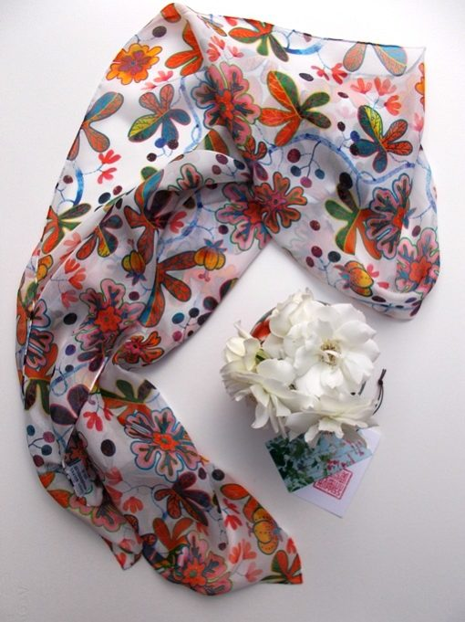 Hand rolled pure silk chiffon long scarf in the homage to josef frank pattern repeat by Gabby Malpas