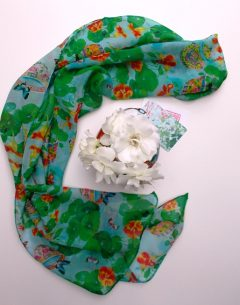 Hand rolled pure silk chiffon long scarf in the nasturtium pattern repeat by Gabby Malpas