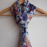 Hand rolled pure silk chiffon long scarf in the Day out in Newtown pattern repeat by Gabby Malpas