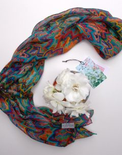 Hand rolled pure silk chiffon long scarf in the trippy 2 pattern repeat by Gabby Malpas