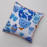 100% cotton oxford reversible cushion cover designed by Gabby Malpas blue and white ceramic design