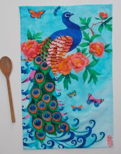 100% Cotton machine washable teatowel Peacock design