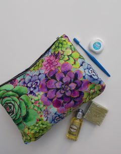limited edition washbag in succulove print