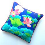 Gabby Malpas cotton cushion cover lotus and garden of eden