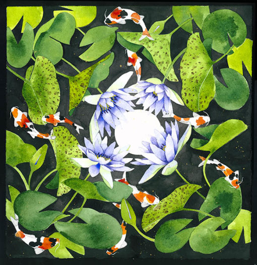 waterlilies and koi archival print 42cm x 43cm