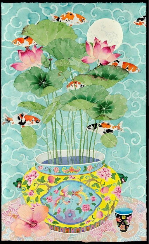 colourblind. Koi fish moving amongst lotus leaves and flowers in a peranakan bowl