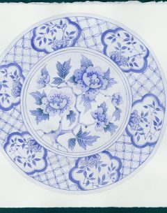 Gabby Malpas original painting; watercolour and gouache on paper blue and white plate 3