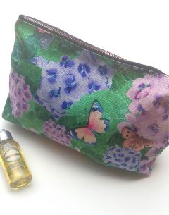 limited edition washbag in hydrangeas and butterflies print