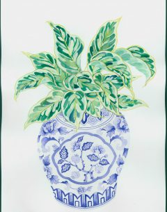 Gabby Malpas original painting; watercolour and gouache on paper calathea in blue and white vase