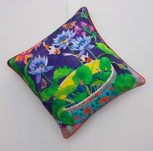Limited edition cotton cushion cover: waterlilies and lotus
